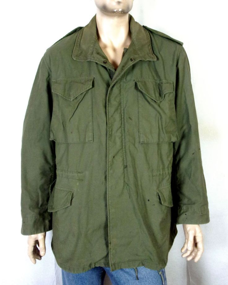 vtg 70s Vietnam Era US Army Field Jacket Cold Weather Coat OG-107 sz Medium Long