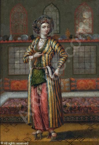 A NOBLE LADY OF CONSTANTINOPLE WEARING HAMMAM SHOES sold by Sotheby's, London, on Tuesday, April 24, 2012  Follower of VANMOUR Jean-Baptiste, 1671-1737 (France)  Title : A NOBLE LADY OF CONSTANTINOPLE WEARING HAMMAM SHOES