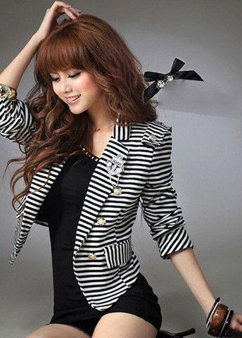 OL Essential New Long Sleeve Striped Short Blazer – teeteecee - fashion in style