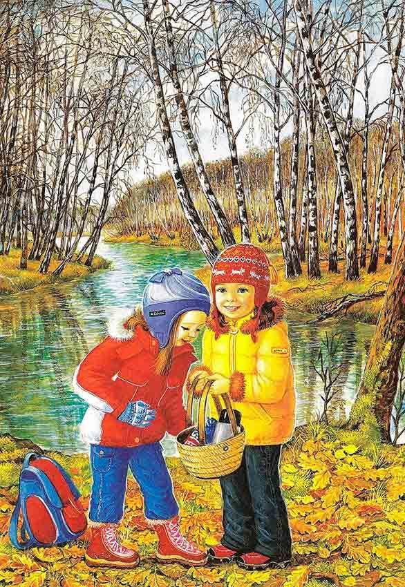 Картинки осени для детей, открытка