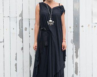 Maxi Black Dress / Draped Belted Dress / Asymmetrical Oversize Tunic/ Plus Size Dress by METAMORPHOZA