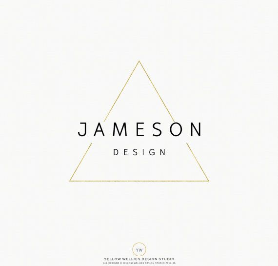 Premade Logo - or moderne géométriques Triangle photographie - Designer - petites entreprises - création de Logo - Logo