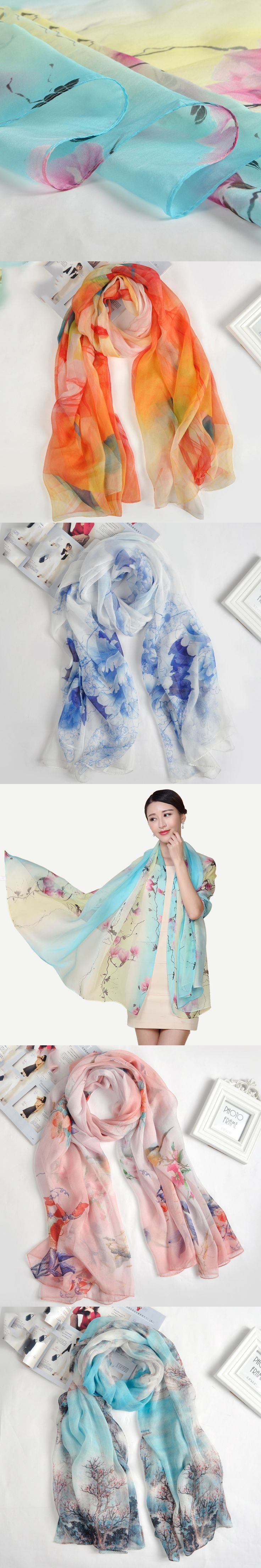 100% Real Silk Scarf Hot Selling Floral Silk Scarf Women Shawl 175x110cm Large Size Satin Scarves for ladies 7 Colors