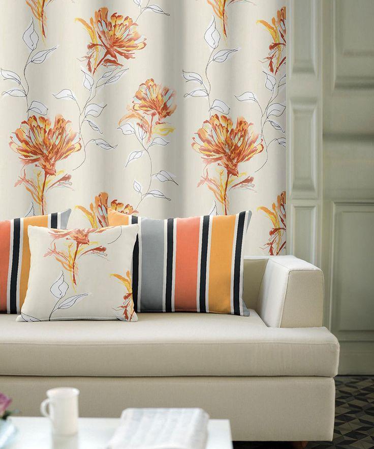 Draperie cu cromatică orange-gri, cu model diferit pe cele 2 feţe, disponibilă la sul de 150 cm pe lăţime.
