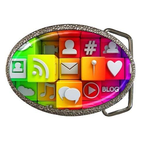 Colorful 3d Social Media Belt Buckle