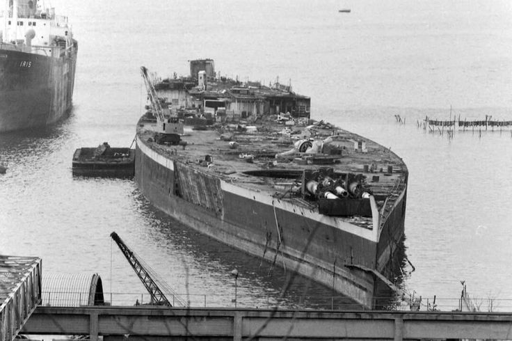 The French Battleship Richelieu Being Scrapped At Genoa In