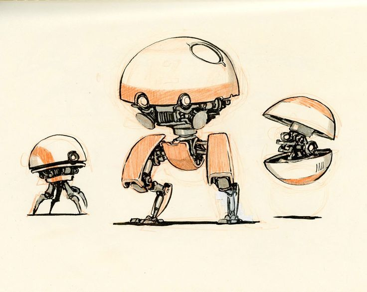 Concept robot sketches by Jake Parker