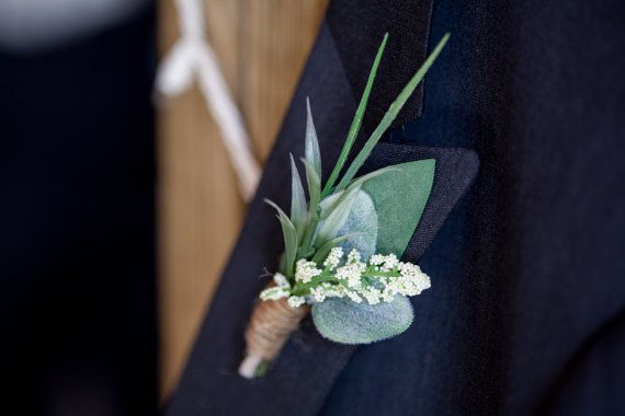 Boutonniere Rustic Boutonniere Greenery by HeirloomandOak on Etsy