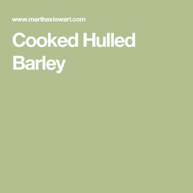 Cooked Hulled Barley