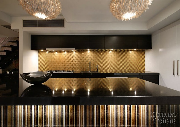 Glammy black and gold kitchen modern kitchens pinterest - Black and gold kitchen ...