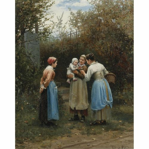Daniel Ridgway Knight | lot | Sotheby's - The First Born ( Morning Greeting)