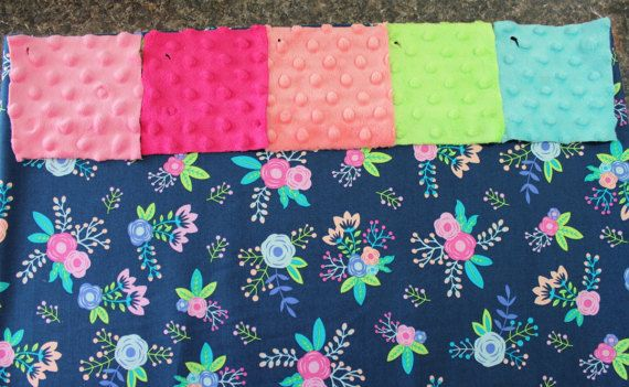 Navy Floral Nap Mat Cover - Roses - Aqua Mint Coral Pink - Minky - Choose Your Colors - Kindermat - Back To School - Pillowcase - Blanket