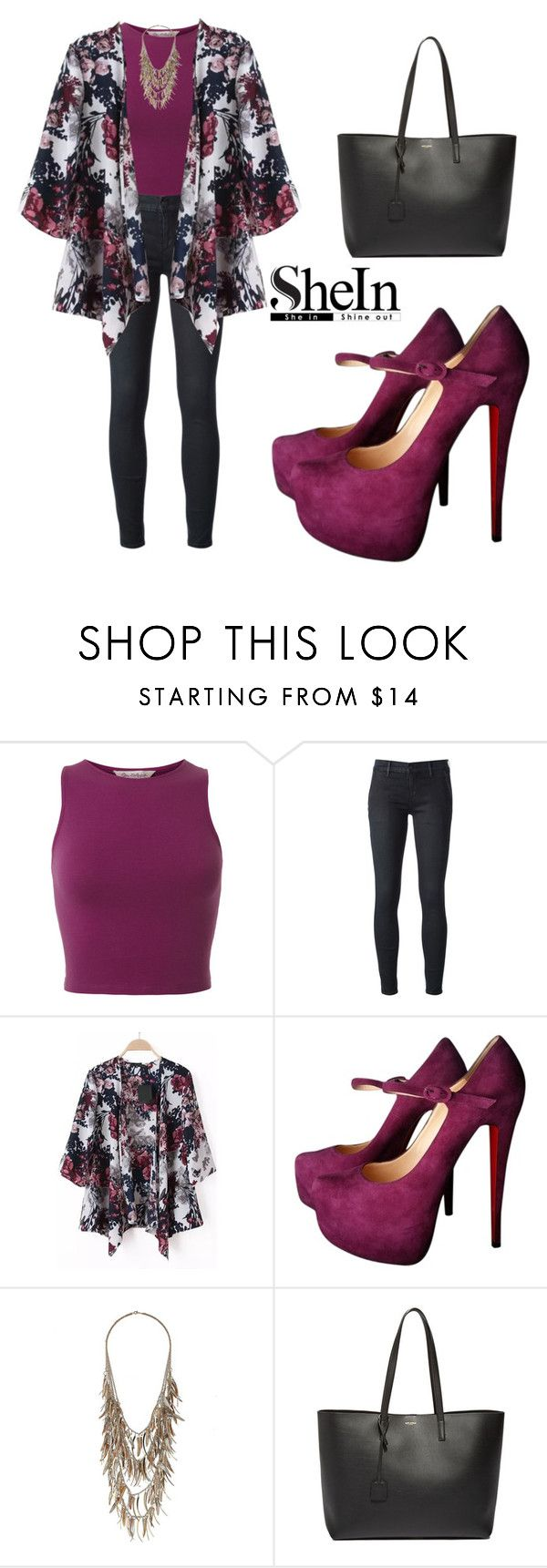 """""""SHEINSIDE Kimono"""" by tania-alves ❤ liked on Polyvore featuring Miss Selfridge, Koral, Christian Louboutin and Yves Saint Laurent"""