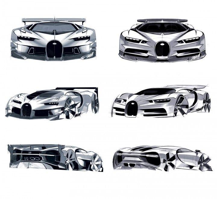 Bugatti Vision Gran Turismo vs Bugatti Chiron Design Sketches