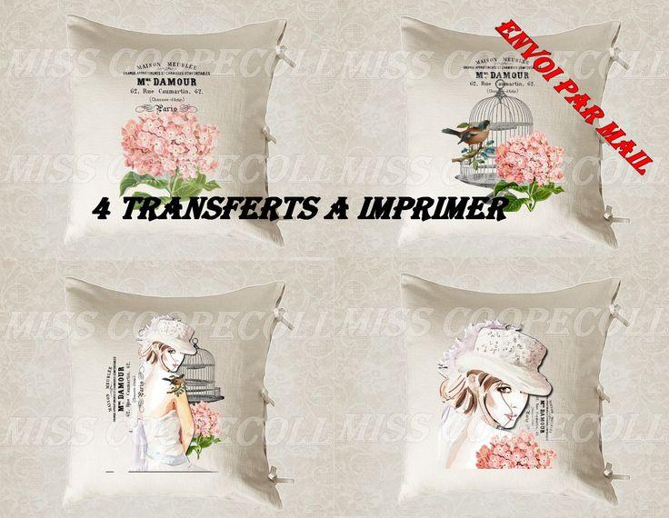 """4 images digitales pour transfert à imprimer """"mademoiselle anita d'amour2"""" envoi par mail : Loisirs créatifs, scrapbooking par miss-coopecoll"""