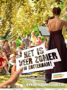 Rotterdam Festivals - Het is weer zomer in Rotterdam    We hebben een nieuw merkenbeleid voor Rotterdam Festivals ontwikkeld en dit doorvertaald in een nieuwe corporate identity. Het hele jaar door zijn er heel veel en uitlopende festivals in Rotterdam. Daarom ontwikkelden we een landelijke campagne met TV, radio, online en print.