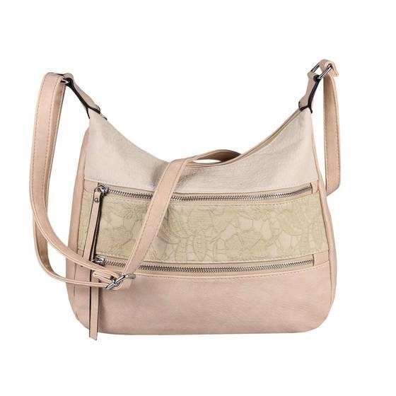 OBC Damen Tasche Blumen Shopper Tote Bag Handtasche Umhängetasche Schultertasche Beuteltasche Leder Optik Hobo Crossbody Beige