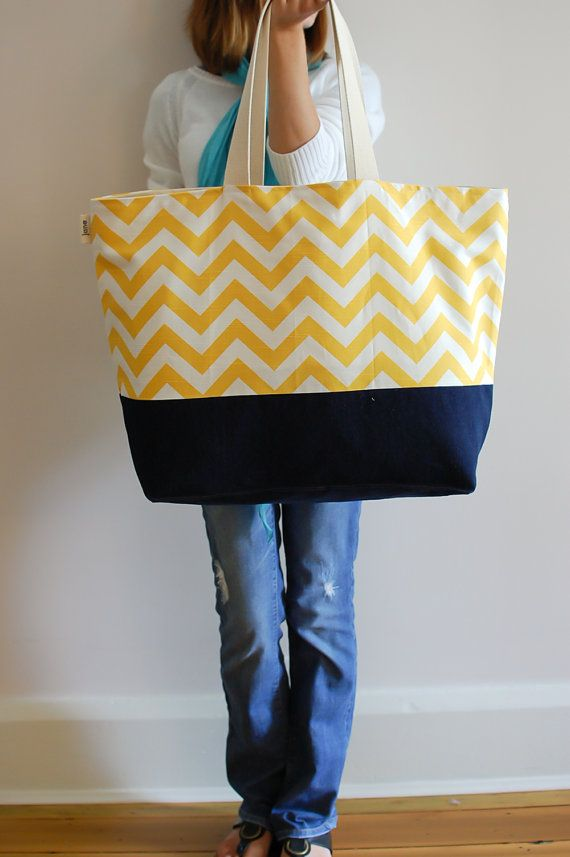 EXTRA Large Beach Bag // Tote in Chevron Yellow by LucyJaneTotes, $68.00