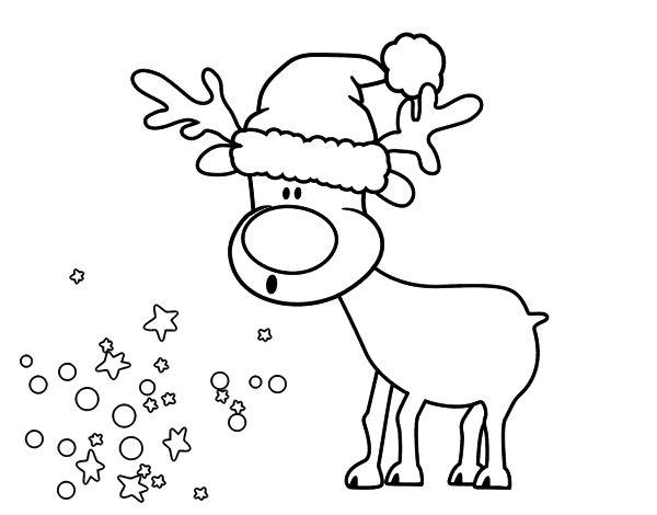 Dibujos De Ciervos Para Colorear E Imprimir: Dibujo De Reno Con Gorro Para Colorear