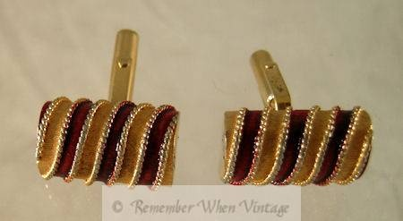 Christian Dior Red Enamel and Goldtone Cuff Links $67.99