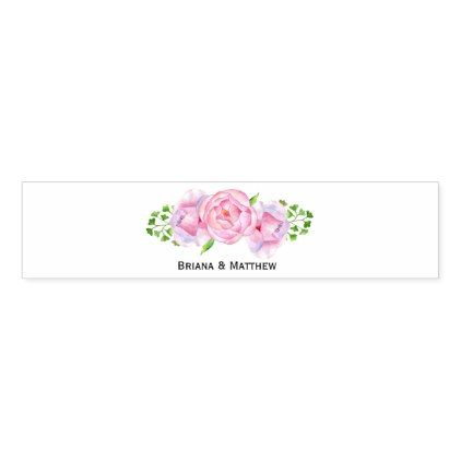 Watercolor Floral Pink Roses Napkin Band - country wedding gifts marriage love couples diy customize