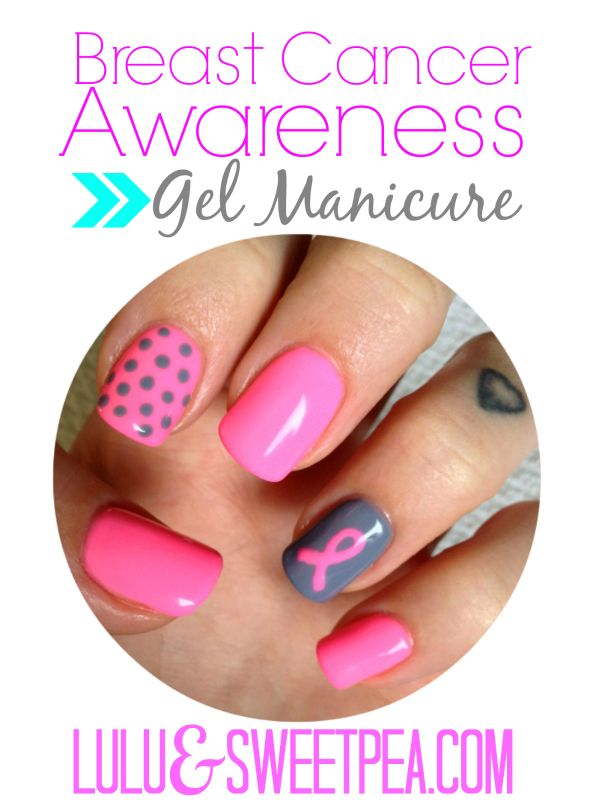 Pink ribbon manicure for breast cancer awareness- Lulu & Sweet Pea