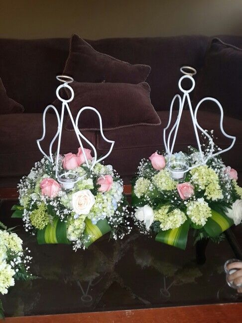 Centerpieces baptims angels bases de metal en forma