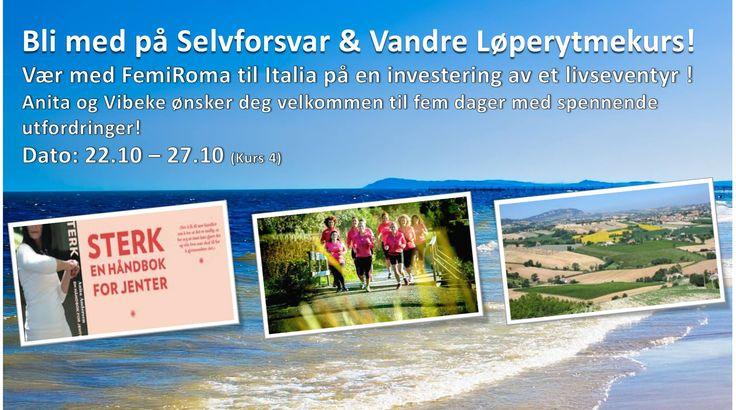 """Vi ønsker deg velkommen til et livseventyr! Til kurs i  """" Selvforsvar & Vandre - Løperytmekurs"""".  Vær med på spennende tilrettelagte aktiviteter, gode samtaler, kortreist mat og et fantastisk og aktivt pustehull i hverdagen.  Vi ønsker deg velkommen til kurs i strandbyen Riccione<3  I fem dager skal du """"Leve & Nyte"""" og bli tatt vare på.... https://www.facebook.com/events/405676082922673/"""