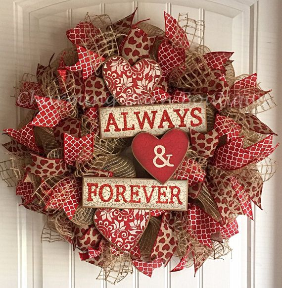 This Valentines Day wreath will make a great addition to your valentines decor this February. Made with natural colored deco mesh and decorated with three different wired ribbons throughout. Wooden red hearts sign that says Always and Forever centered in middle of wreath. This wreath measures 26 x 26 x 6. Valetines Day Wreath, Valentines Decor, Valentines Wreath, Always and Forever, Valentines Day Mesh Wreath, Valentines Day Decor  Each wreath is packed safely in the box to avoid it moving…