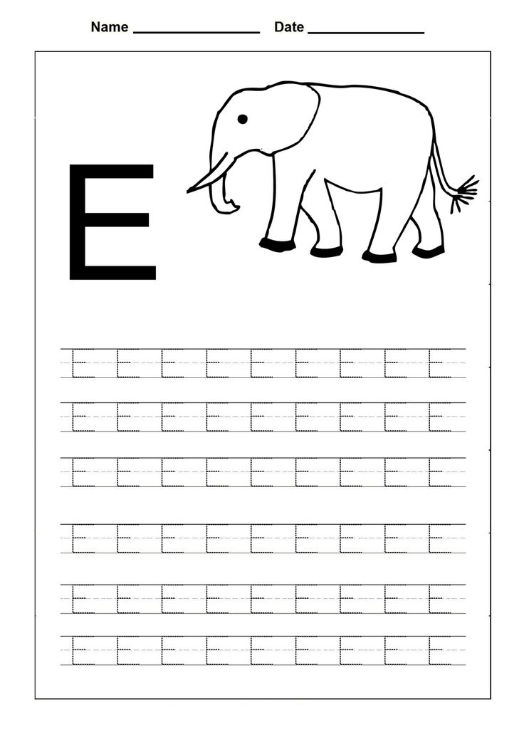 Free uppercase letter e coloring pages