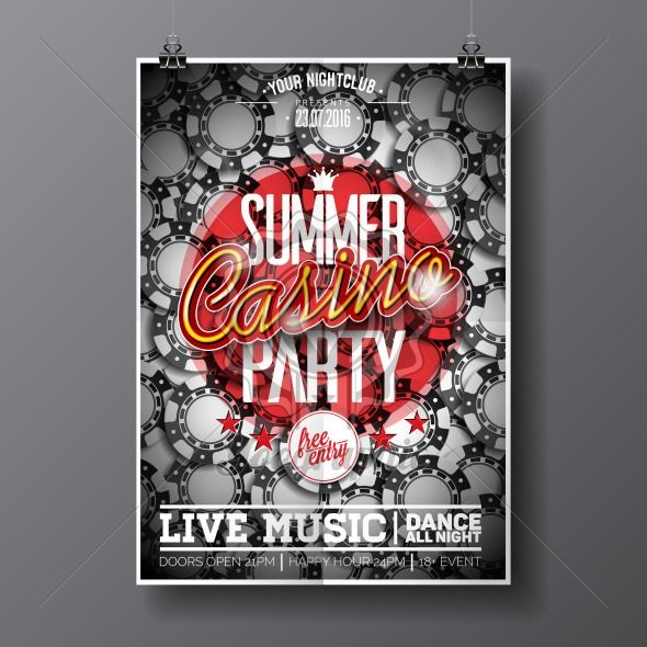 Vector Summer Party Flyer design on a Casino theme with chips on dark background. - Royalty Free Vector Illustration