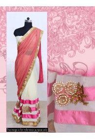 New Boutique Designer Peach and OffWhite Colour Simply Beautiful Half-Half Saree