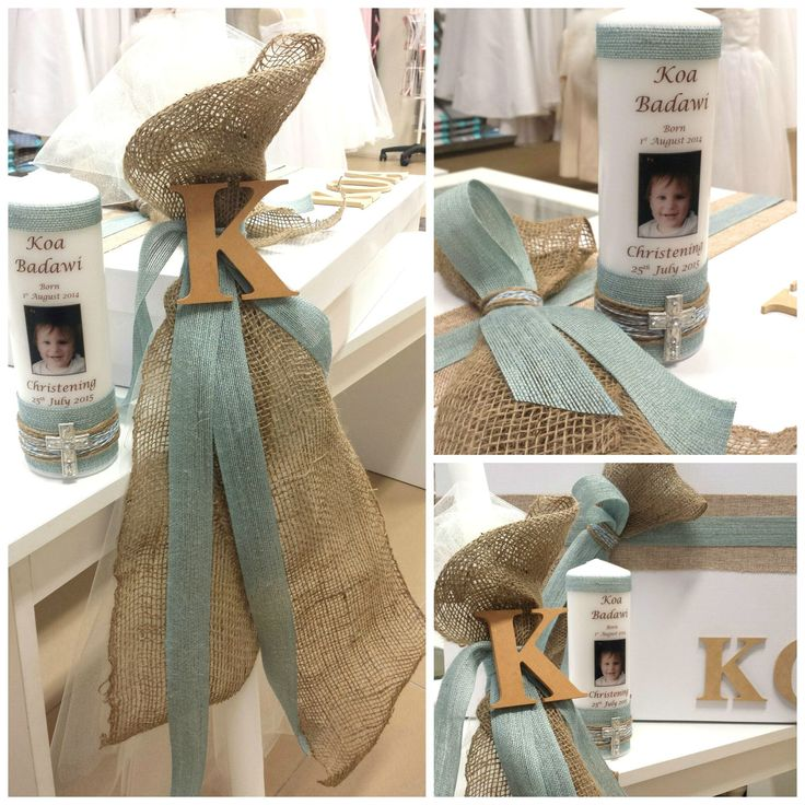 Boys rustic christening box and candle