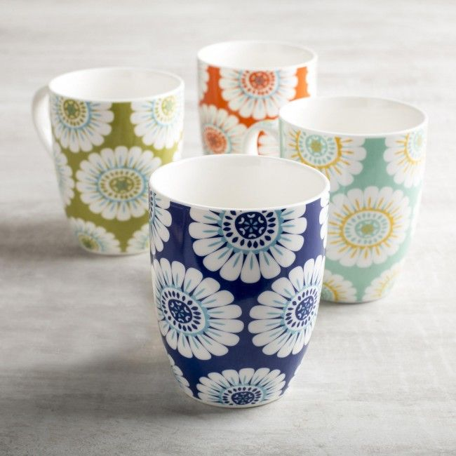 Bright and colourful bone china mugs look great in any kitchen decor.