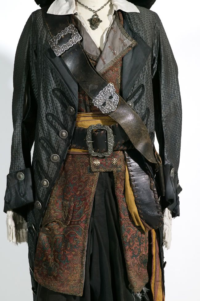 Pirate costuming  Hector Barbossa, I love the color palette of his attire.