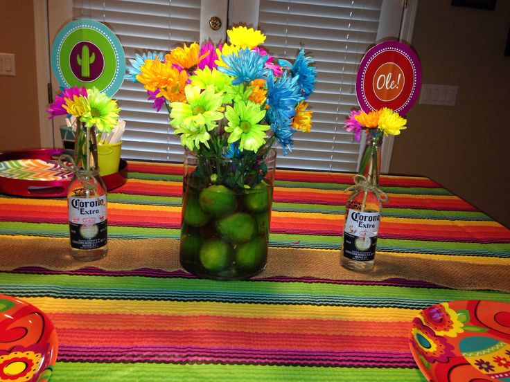 Lime centerpiece for a mexican fiesta birthday party for Mexican decorations for the home