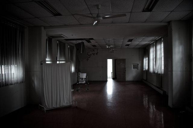 An abandoned hospital ward.