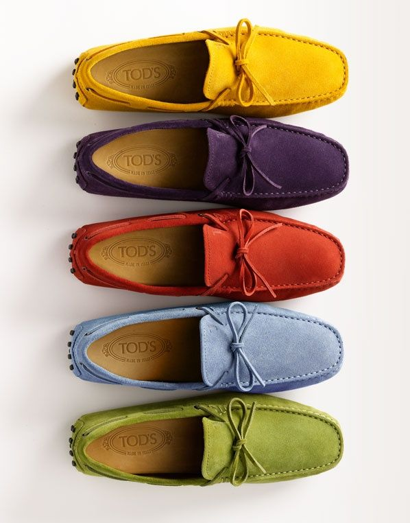 TOD'S. Worried about the colors guys? I say don't. Women have accessorized with color forever, so should you. Step out and knock'em slain in their tracks.: