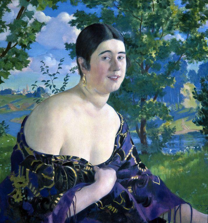 Портрет О.И. Шимановской, by Boris Kustodiev (1878~1927)