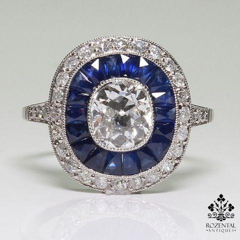 http://rubies.work/0373-sapphire-ring/ Antique Art Deco Platinum Diamond & Sapphire Ring (hva)