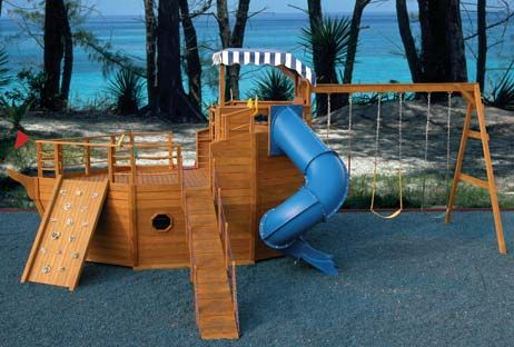 playhouse swing set plans | Youngster's Yacht | Backyard Pirate Ship Playhouse for Children | My ...