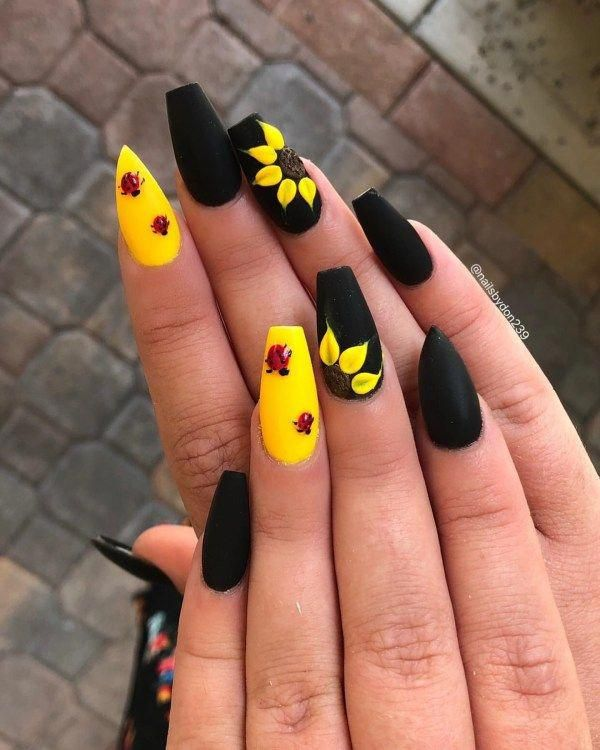 Elegant Long Coffin Nails Design Big Party We Carefully Selected More Than 250 Pictures About The Sunflower Nails Summer Acrylic Nails Pretty Nail Art Designs