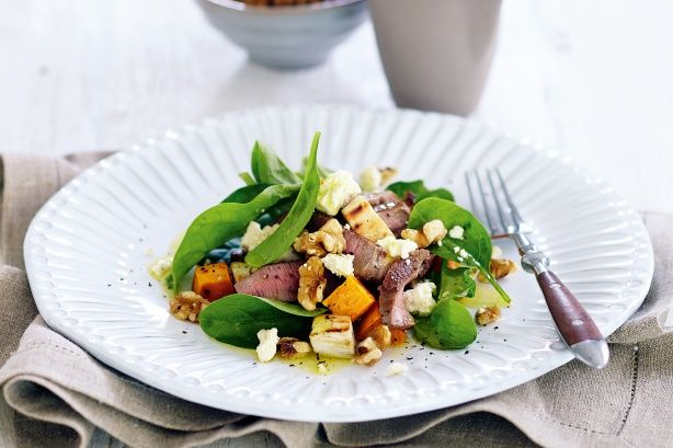 In-season sweet potato adds flavour and texture to salads, like this gluten free spiced lamb version.