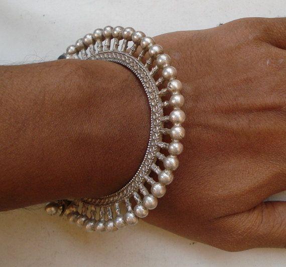 Vintage Antique Tribal Old Silver Bangle Bracelet