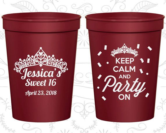 Pink cup with Matte Gold lettering - fill with candy as party favors 16th Party Favor Cups Sweet 16 Party Keep Calm and Party on