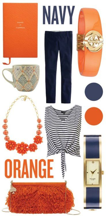 : Colors Combos For Clothing, Navy And Orange Outfits, Colors Combos Outfits, Fashion Colors Combos, Orange And Navy Outfits, Colors Palettes, Colors Navy, Clothing Fashion, Clothing Colors Combos