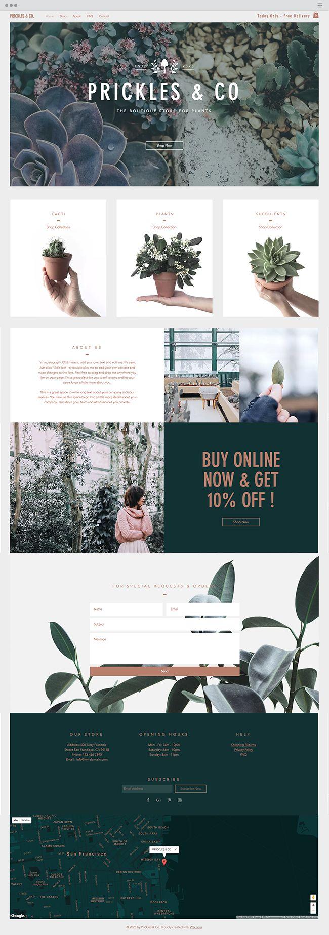 Plants Boutique Website Template