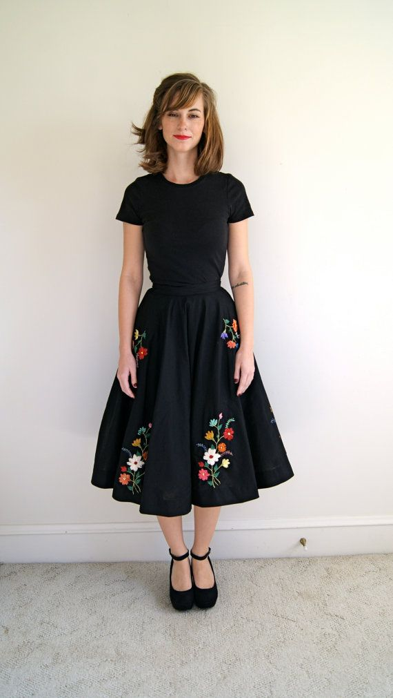 50s Circle Skirt. Raffia Embroidered by NewOldFashionVintage