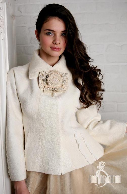 Купить Валяный жакет «Bride» - белый, валяный жакет, авторская работа, ирина демченко