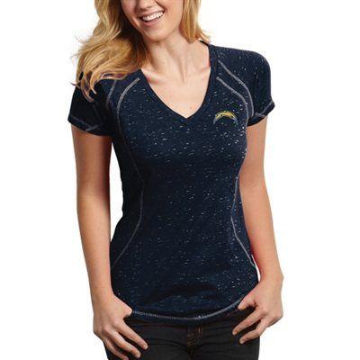 Antigua San Diego Chargers Ladies Supreme Burnout V-Neck T-Shirt - Navy Blue